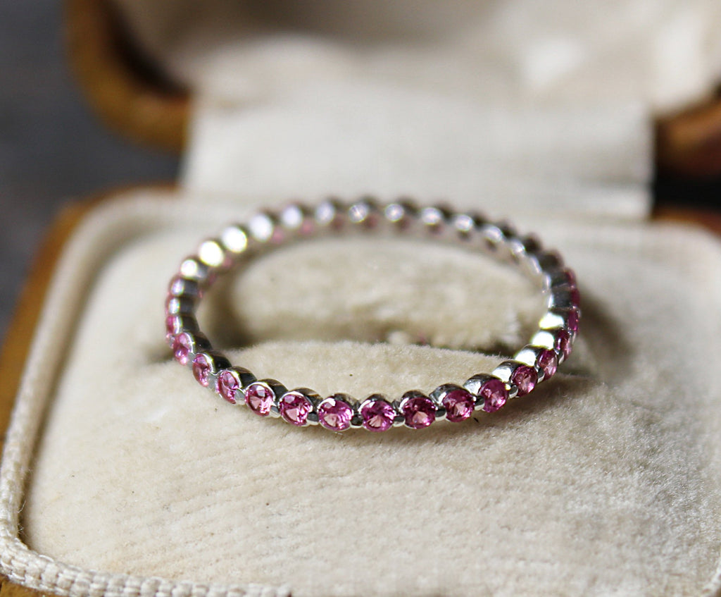 PINK SAPPHIRE Stackable Eternity Wedding Band