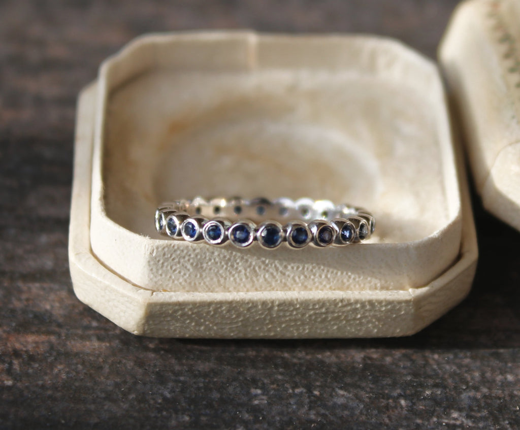 SAPPHIRE Bezel Set Stackable Eternity Band