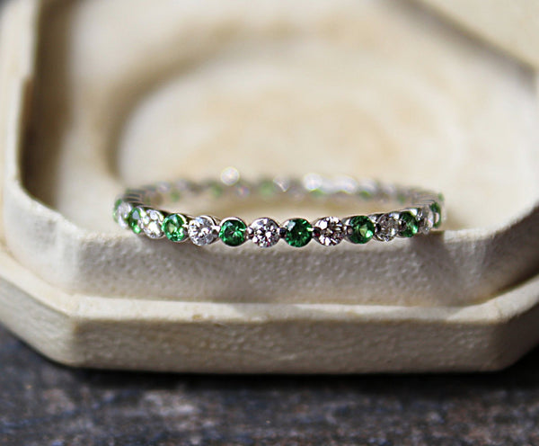 Diamond and Tsavorite Eternity Band in Vintage Ring Box
