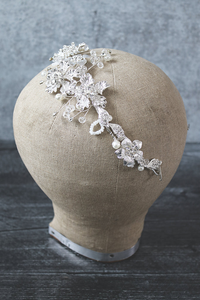 GALLA Silvered Floral Bridal Headpiece