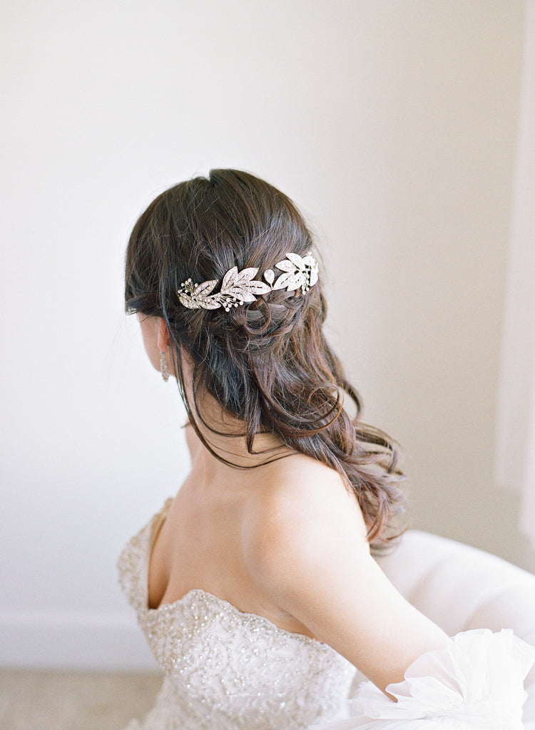 GENEVA Bejeweled Leaves Bridal Headpiece