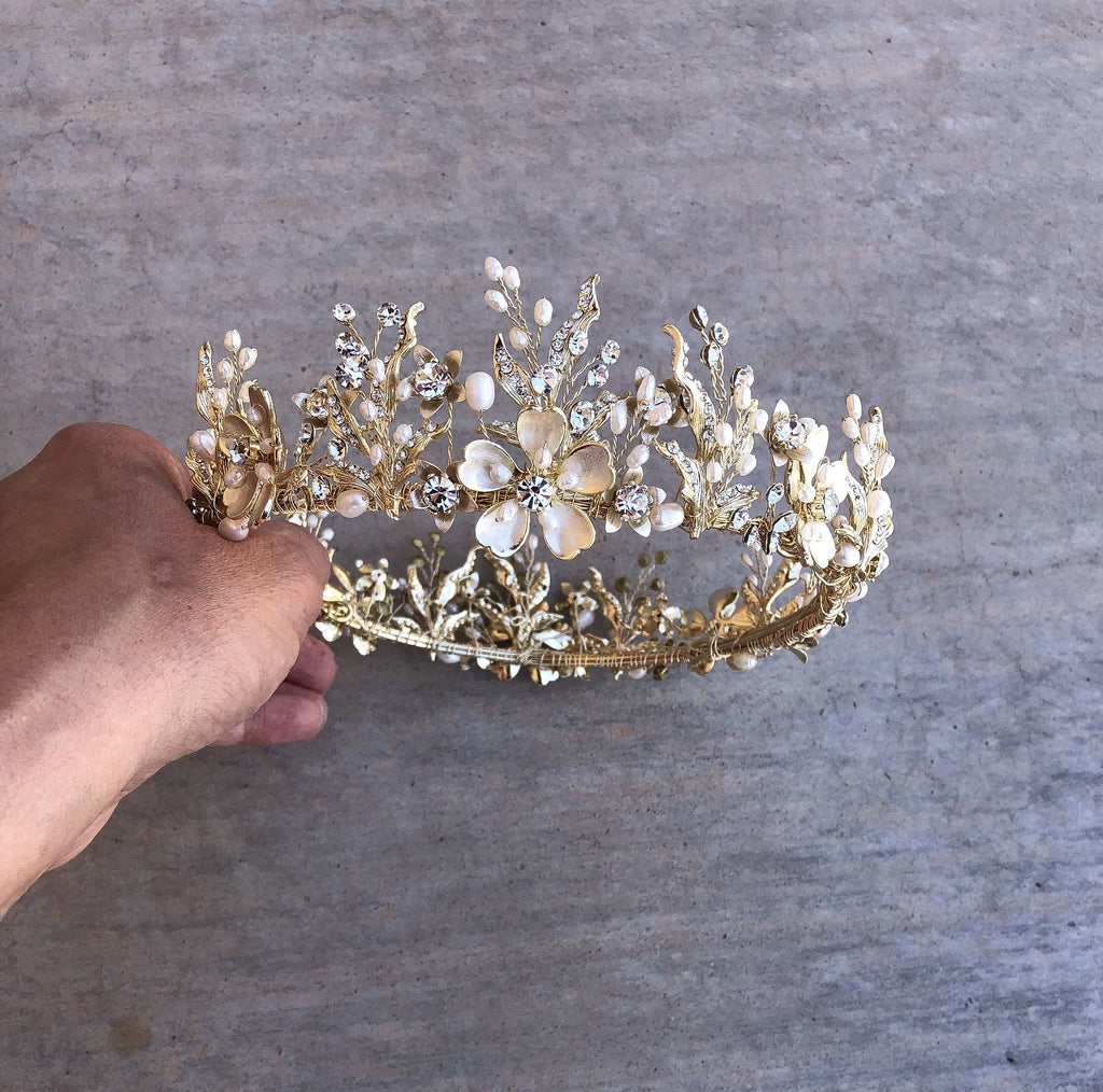 GENEVIEVE Gilded Blossoms Bridal Crown