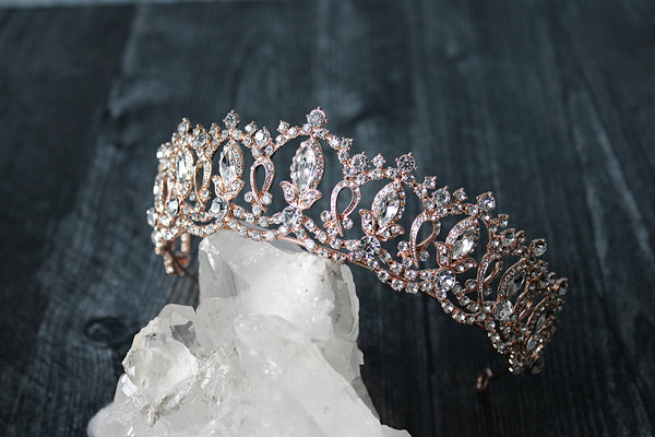 GRAND SERENA Rose Gold Tiara with Swarovski Crystal Colored Center Accent Stones