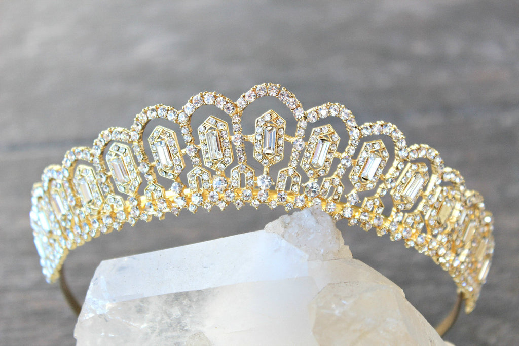 GRETA Silver Art Deco Wedding Tiara