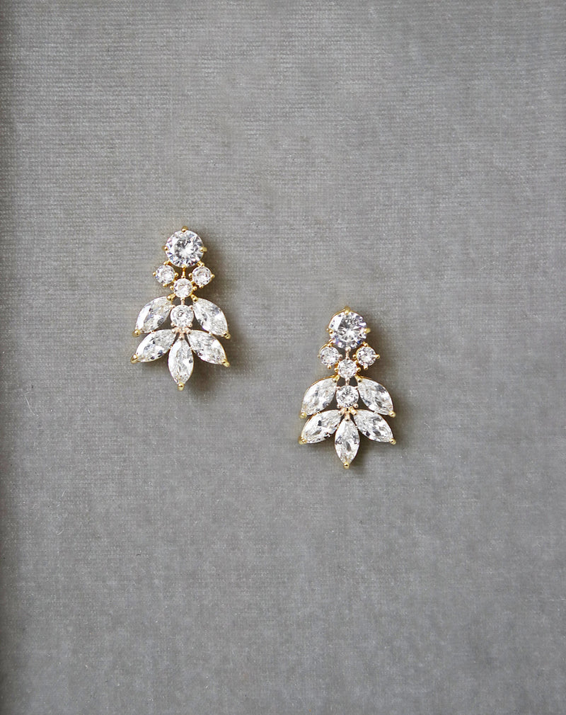 CRESSIDA Gold Simulated Diamond Cluster Earrings