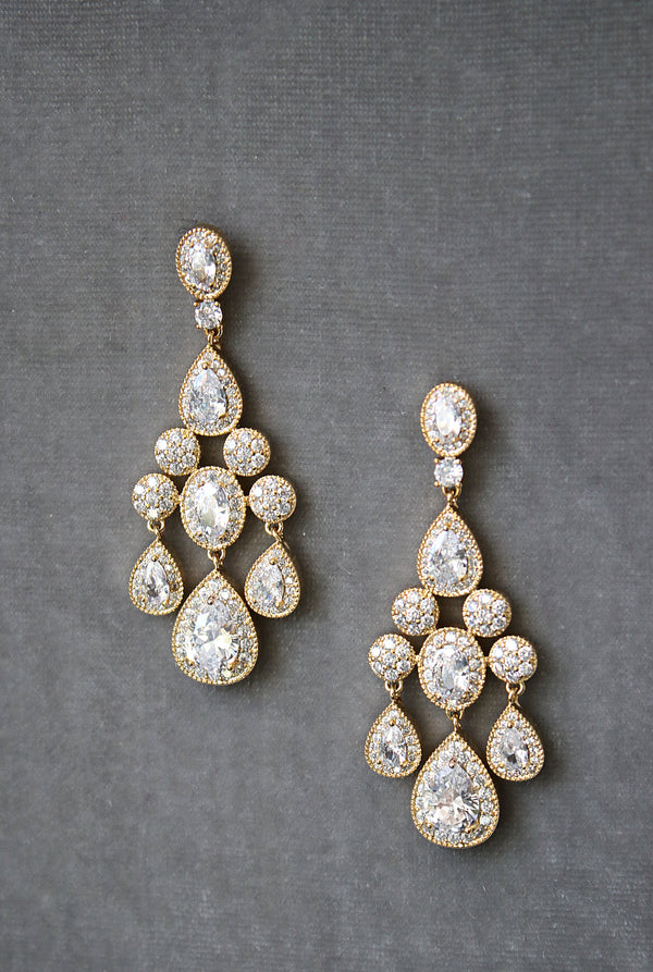 ISABELLA Gold Bridal Chandelier Earrings