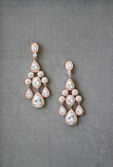 ISABELLA Silver Bridal Chandelier Earrings