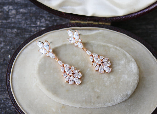 JESSICA Rose Gold Bridal Drop Earrings