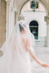 LAURENT Floral Applique and Lace Cathedral Veil