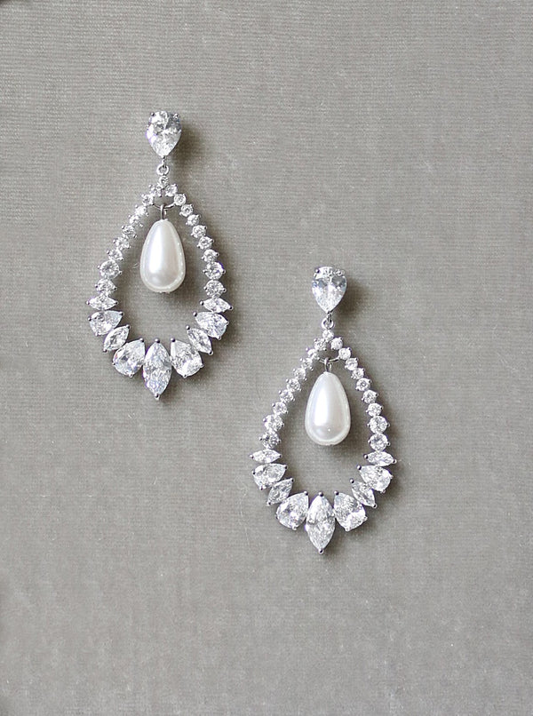 MIRABEL Simulated Diamond and Pearl Drop Earrings