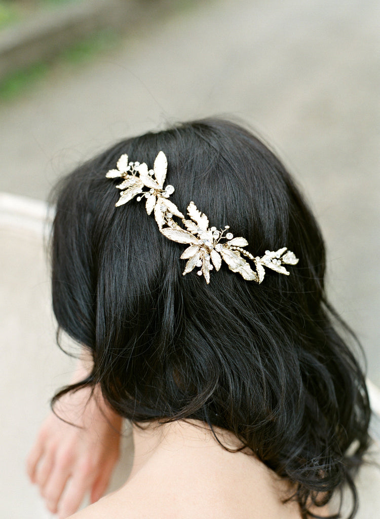 MONTANA Gold Leaves and Crystals Headpiece