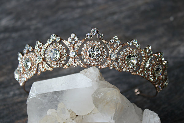 NOBLESSE Rose Gold Swarovski Crystal Wedding Tiara