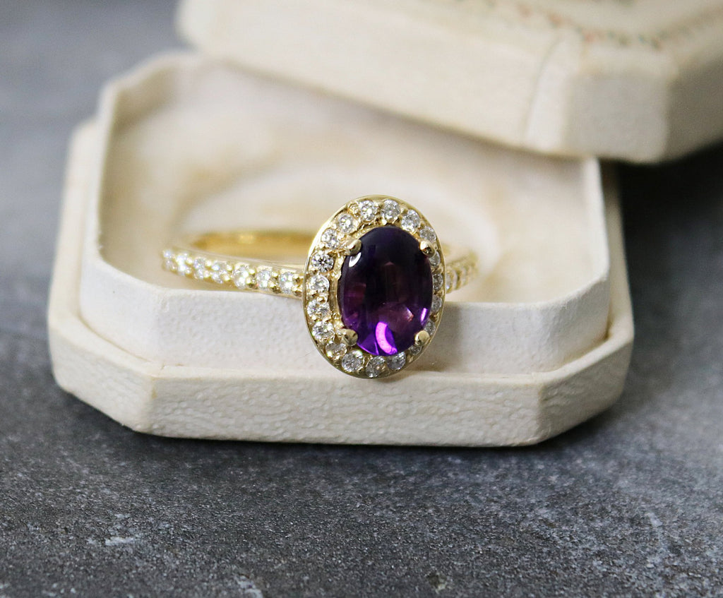 NOLA Amethyst and Diamond Engagement Ring 1.50
