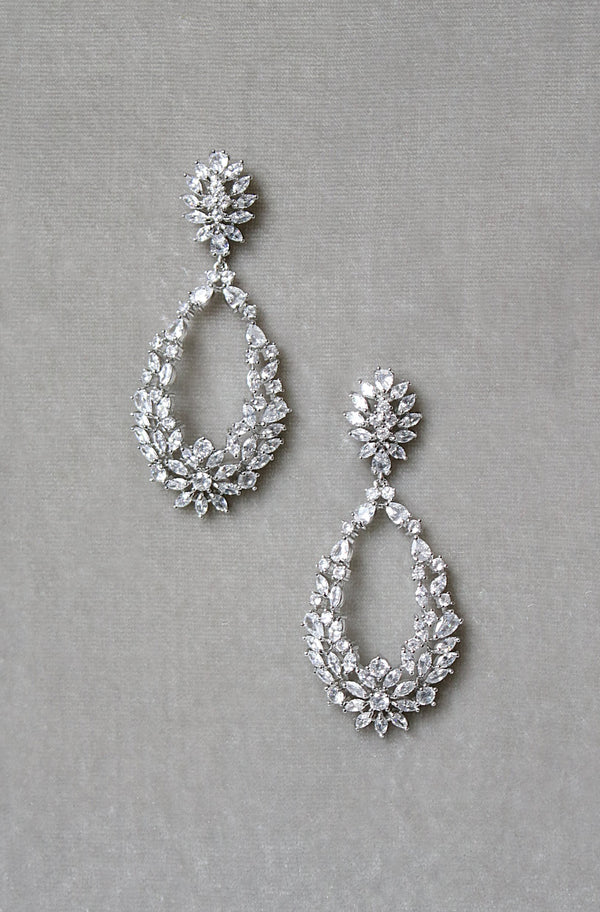 OLIVINE Simulated Diamond Statement Earrings