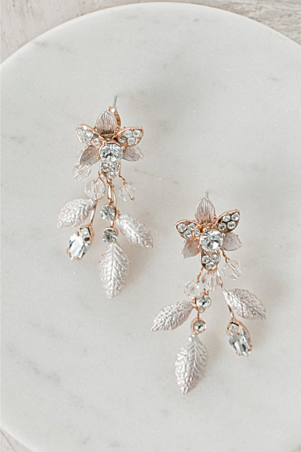 PENELOPE Crystal Floral Drop Earrings