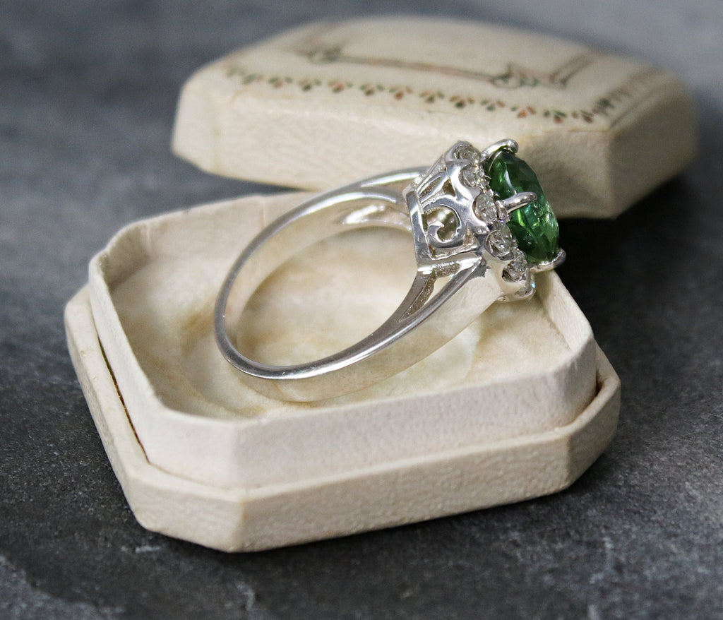 PRAGUE Green Tourmaline and Diamond Engagement Ring 4.50