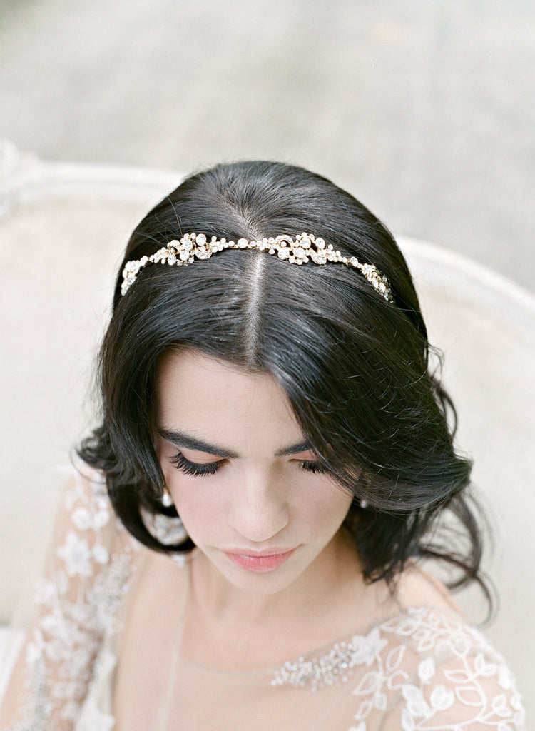 REAGAN Gold Bridal Headband Tiara