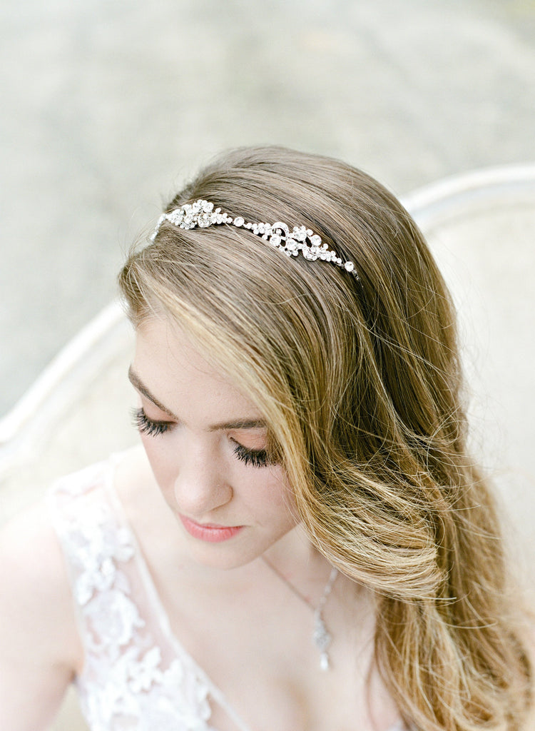 REAGAN Silver Wedding Headband Bridal Tiara