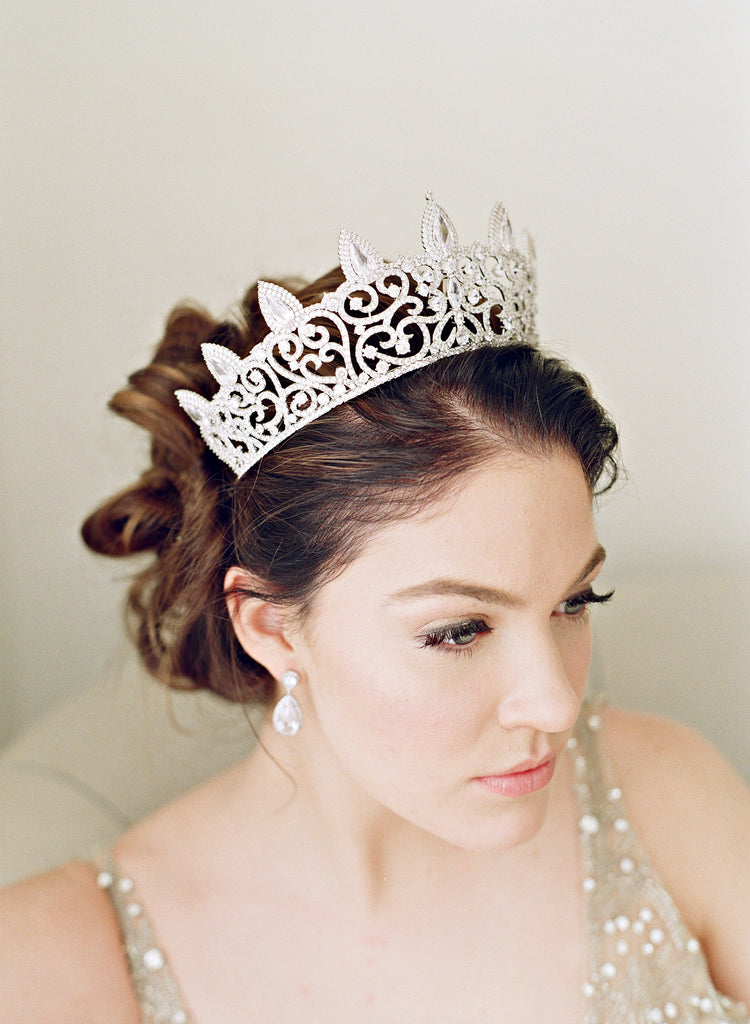 REINE Simulated Diamond Bridal Tiara and Earrings