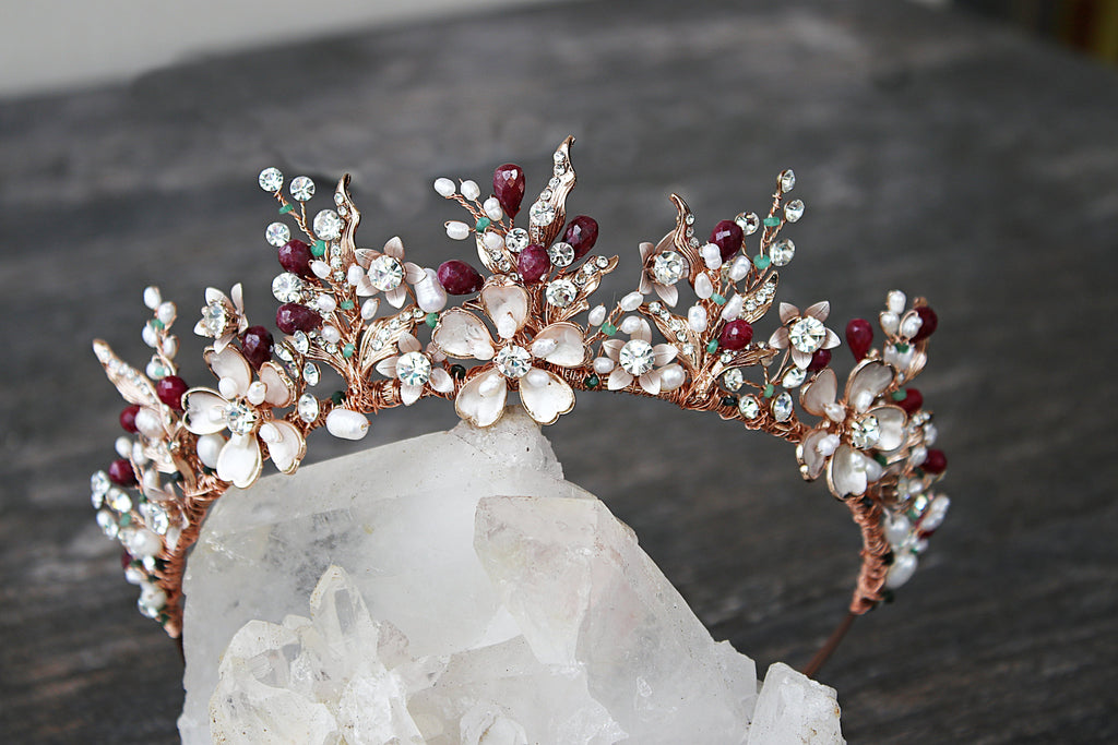 GENEVIEVE Tiara with Genuine Gemstone Briolettes