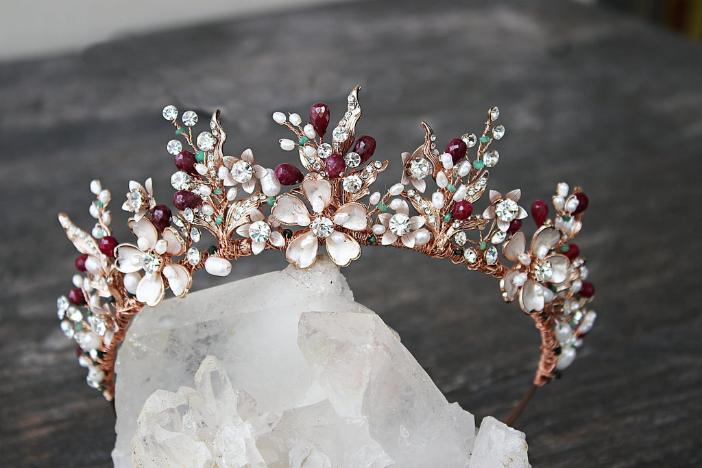 Bespoke Gold GENEVIEVE Tiara with Genuine Ruby Briolettes - Payment 4 of 5 for Catherine
