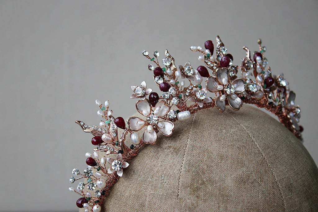 Bespoke Gold GENEVIEVE Tiara with Genuine Ruby Briolettes - Balance Due for Catherine