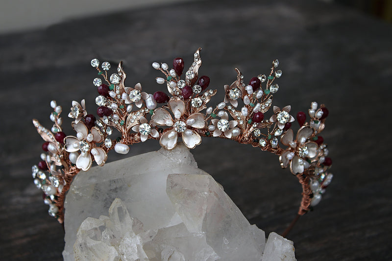 GENEVIEVE Tiara with Ruby and Emerald Briolettes