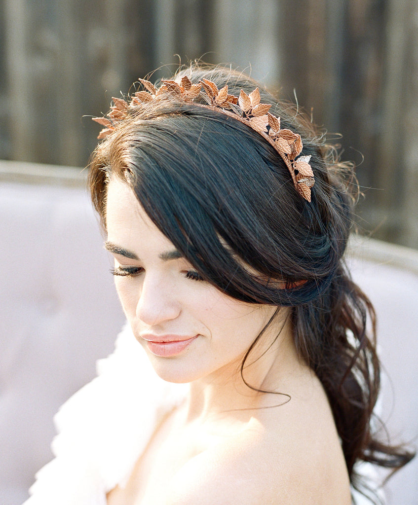 SIGRID Rose Gold Leaf Bridal Headpiece Tiara - As Seen in Southern Bride Magazine