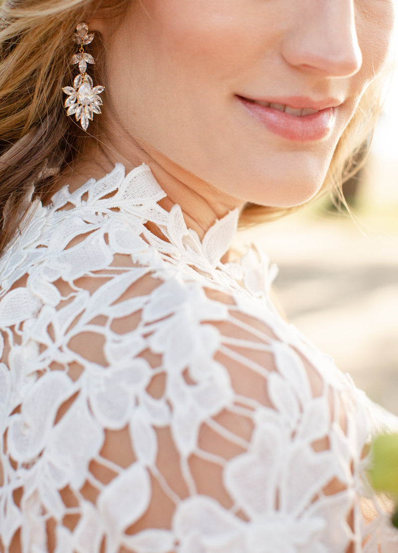 INES Gold Bridal Earrings