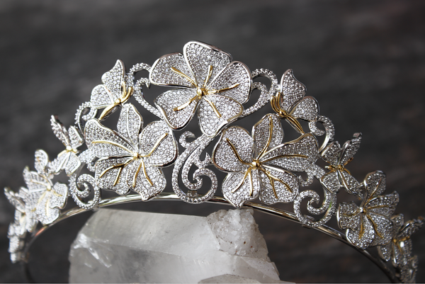 CHLOE Simulated Diamond Floral Bridal Tiara
