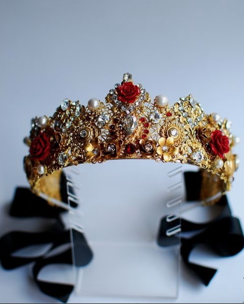 Bespoke Gilded Crown and Rose Headpiece