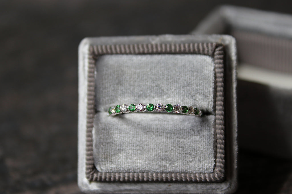 Diamond and Tsavorite Stackable Band in Mrs Box