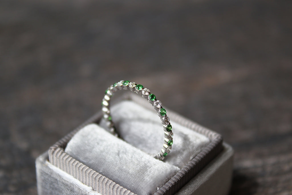 Diamond and Tsavorite Stackable Band in Grey Mrs Box