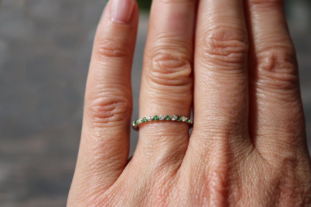 Diamond and Tsavorite Wedding Ring on Hand