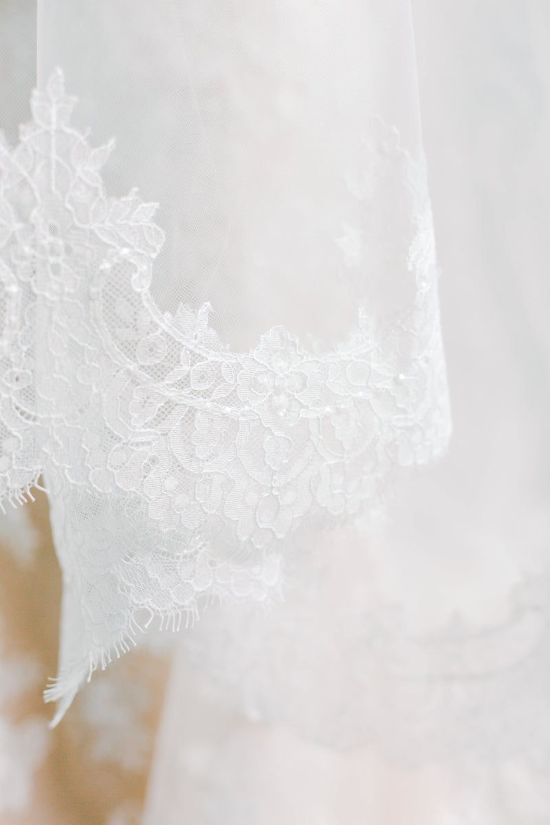 VALENTINA Chantilly Lace Edged Drop Cathedral Bridal Veil