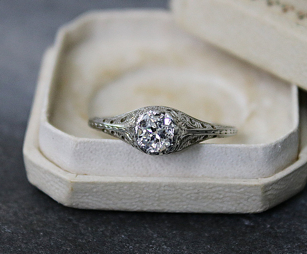 VERONA Vintage Diamond Engagement Ring 0.36