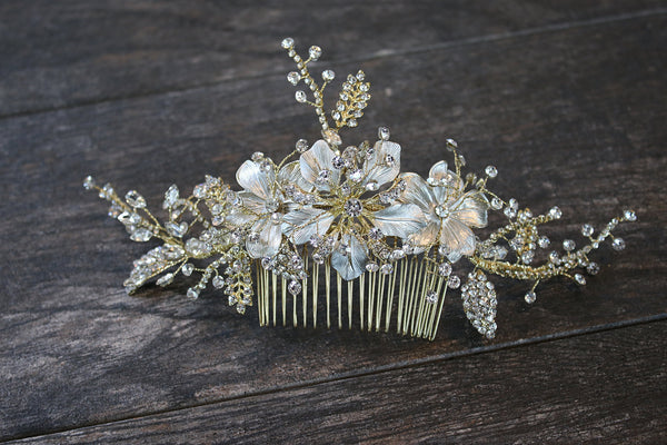 WARBECK Silvered and Gilded Floral Wedding Headpiece