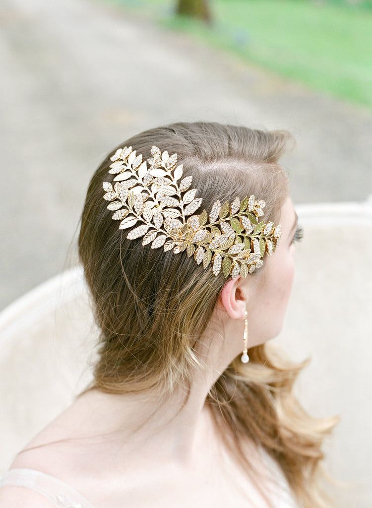 WYATT Swarovski Crystal Leaf Gold Bridal Headpiece