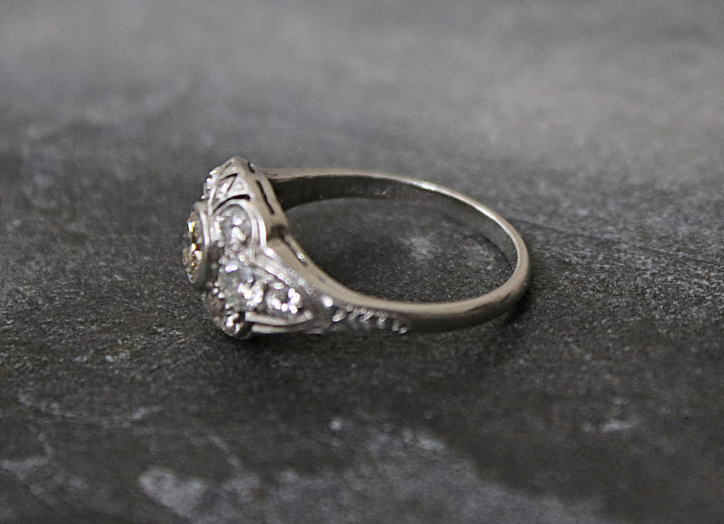 YORK Vintage Platinum Diamond Engagement Ring 1.12