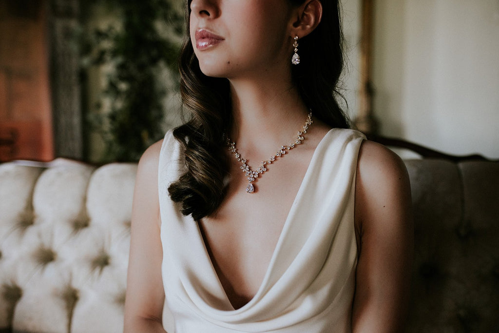 ADELIE Simulated Diamond Necklace and Earrings Set