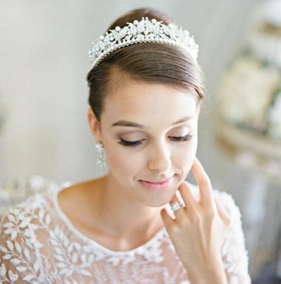 VICTORIA Swarovski Crystal and Pearl Bridal Tiara