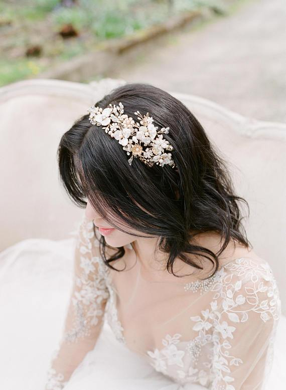 EMMA ANNE 2 Gold Bridal Headpiece Wedding Tiara