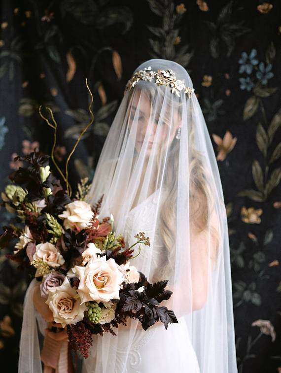 MARGEAUX Gold and Rose Gold Bridal Halo Headpiece