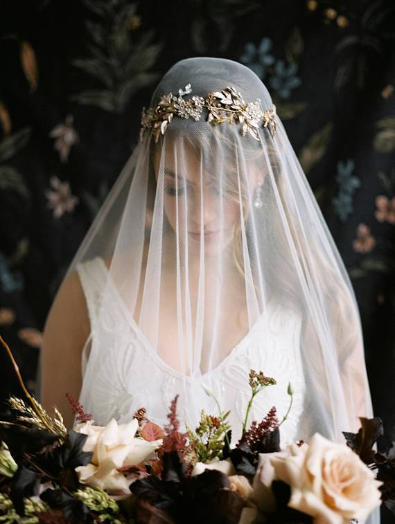 MARGEAUX Silvered Leaves Bridal Halo Headpiece