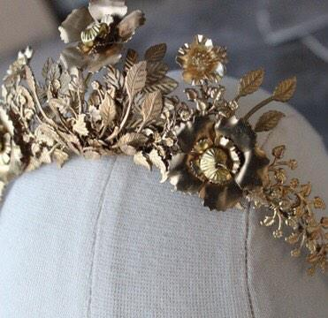 OLIVIA Hand Enameled Brass Floral Tiara