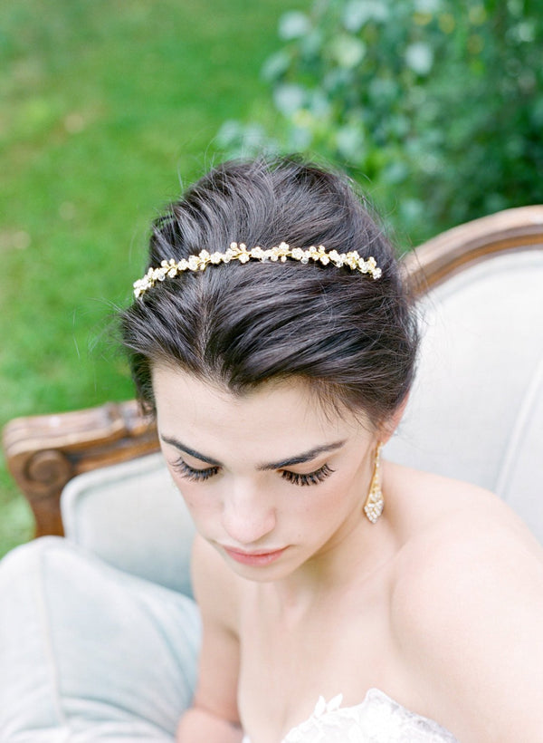 MINA Silver Bridal Crystal Headband