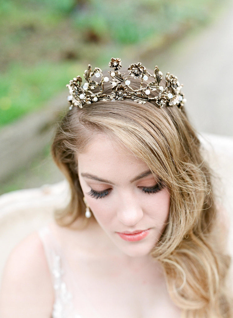 ALEXA Bronzed Leaves Bridal Tiara