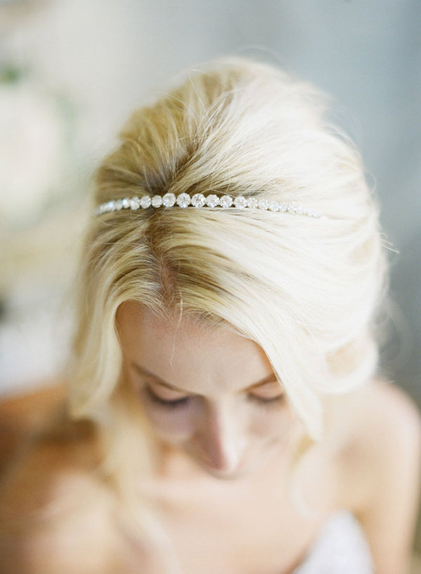 TARA Simple Crystal Bridal Headband Tiara