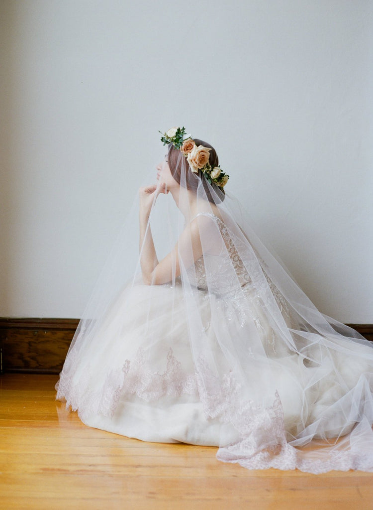 CARLYLE Blush Cathedral Veil