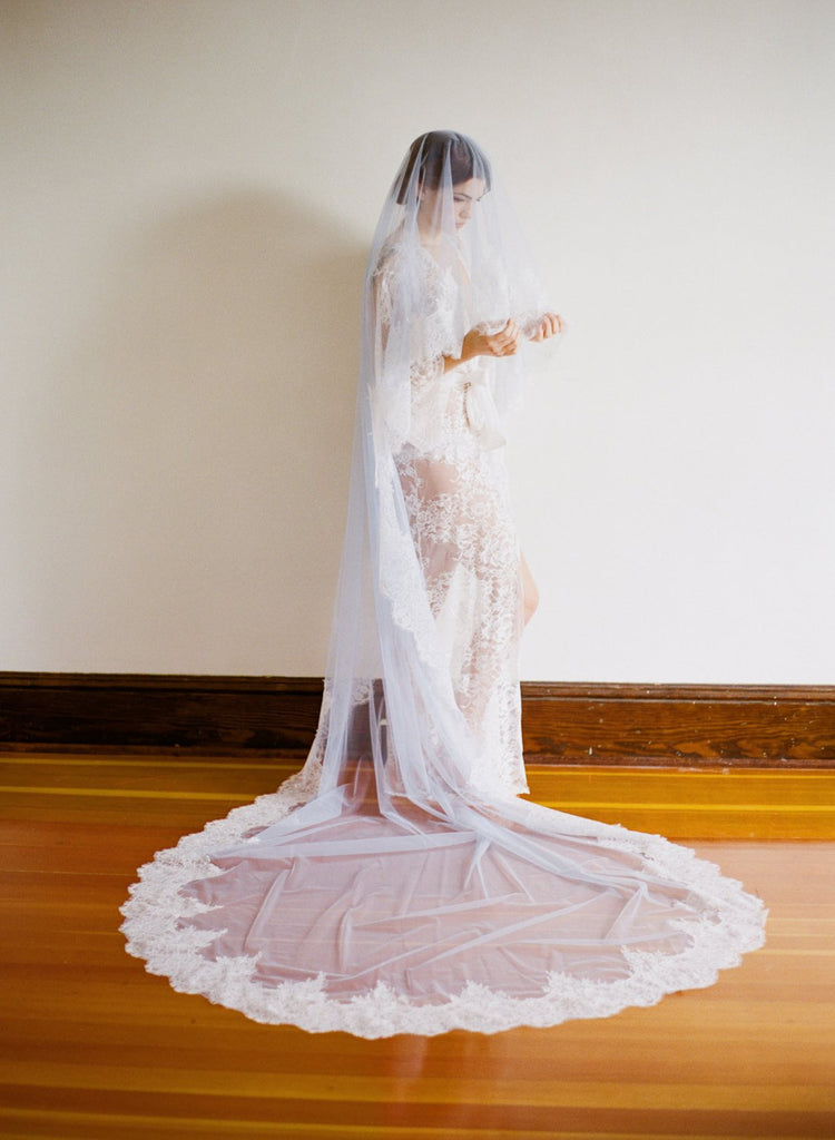 EVERMORE Pale Blue Italian Tulle Cathedral Veil